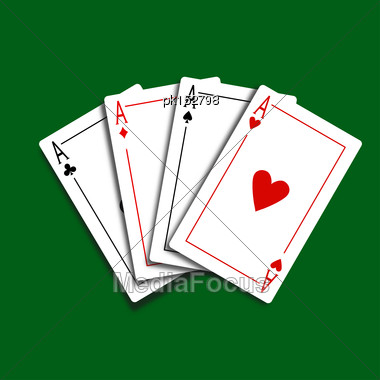 Set Of Four Card Icons With Aces Over Green Background. Vector Illustration Stock Photo