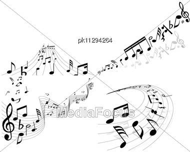 Set Of Four Vector Musical Notes Staff Stock Photo