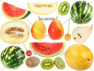 Set Of Fresh Fruits And Berryes Close-up Studio Photography Stock Photo