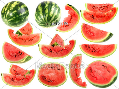 Set Of Fresh Slices And Full A Ripe Watermelons Close-up Studio Photography Stock Photo