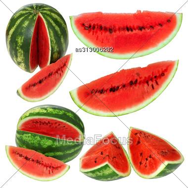 Set Fresh Watermelon Isolated Stock Photo