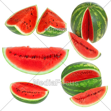 Set Fresh Watermelon And Slices Isolated Stock Photo