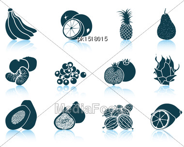 Set Of Fruit Icons. EPS 10 Vector Illustration Without Transparency Stock Photo
