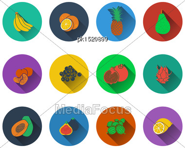 Set Of Fruits Icons In Flat Design Stock Photo
