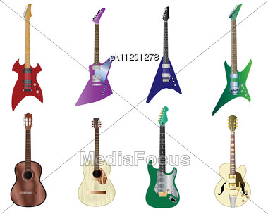 Set Of Full Color Acoustic And Electro Guitars Stock Photo