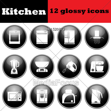 Set Of Glossy Kitchen Equipment Glossy Icons. EPS 10 Vector Illustration Stock Photo