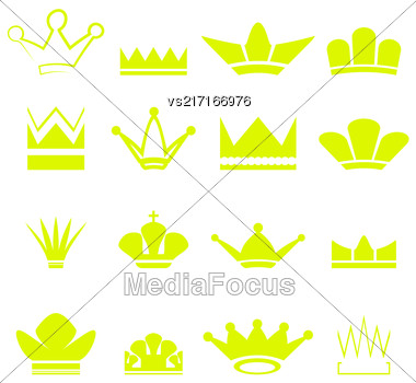 Set Of Gold Crowns Silhouettes Isolated On White Background Stock Photo