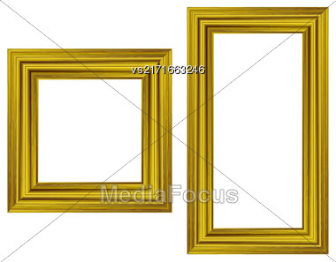 Set Of Gold Wooden Frames Isolated On White Background Stock Photo