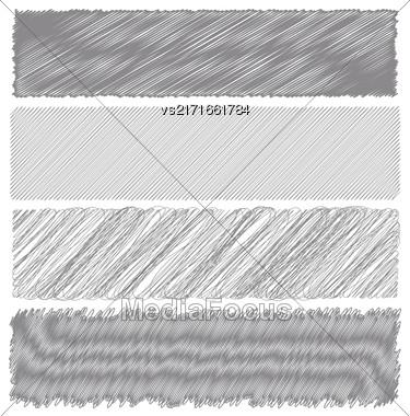 Set Of Gray Diagonal Strokes Drawn Backgrounds Stock Photo