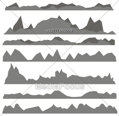 Set Of Gray Mountain Silhouettes Isolated On White Background Stock Photo
