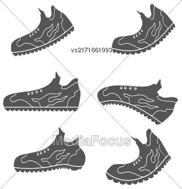 Set Of Gray Sport Shoe Icons Isolated On White Background Stock Photo