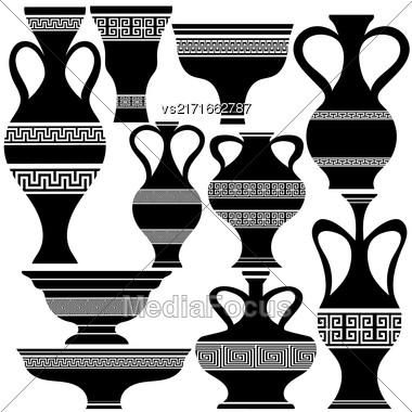 Set Of Greek Amphora Silhouettes Isolated On White Background Stock Photo