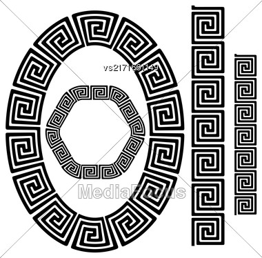 Set Of Greek Ornamenal Frames Isolated On White Background Stock Photo