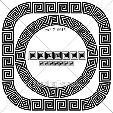 Set Of Greek Ornamenal Frames Isolated On White Background Stock Photo