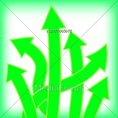 Set Of Green Arrows On White Background Stock Photo