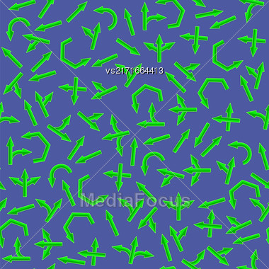 Set Of Green Arrows Seamless Pattern On Blue Background Stock Photo