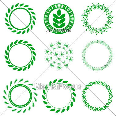 Set Of Green Circle Floral Frames Isolated On White Background Stock Photo