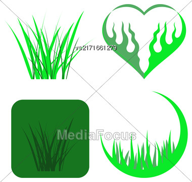 Set Of Green Grass Icons Isolated On White Background Stock Photo