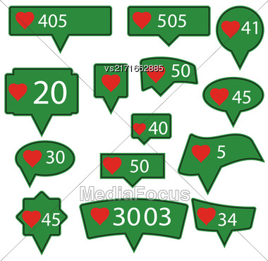 Set Of Green Icons With Red Heart Isolated On White Background Stock Photo