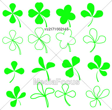 Set Of Green Leaves Icons Isolated On White Background. Symbols Of Patricks Day. Green Shamrocks Stock Photo