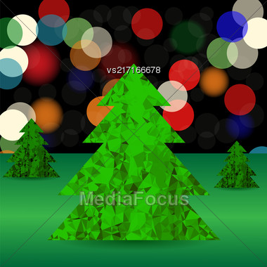 Set Of Green Polygonal Trees On Blurred Background. Green Pines Stock Photo