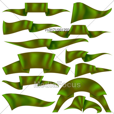 Set Of Green Ribbons Isolated On White Background. Flag Collection Stock Photo