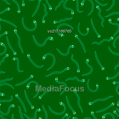 Set Of Green Snakes Seamless Pattern On Green. Animal Background Stock Photo