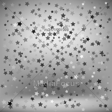 Set Of Grey Stars On Soft Grey Background. Starry Pattern Stock Photo