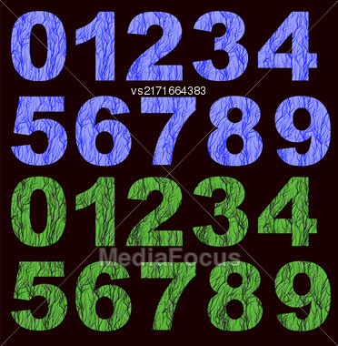 Set Of Grunge Blue Green Numbers Isolated On Black Background Stock Photo
