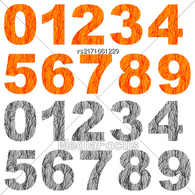 Set Of Grunge Orange Grey Numbers Isolated On White Background Stock Photo