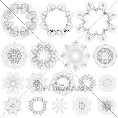 Set Of Guilloche Decorative Elements Isolated On White Background. Rosettes Collection Stock Photo