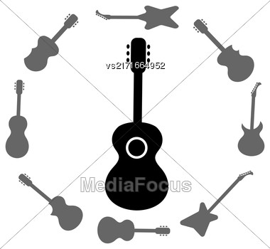Set Of Guitars Silhouettes Isolated On White Background. Guitar Frame Stock Photo