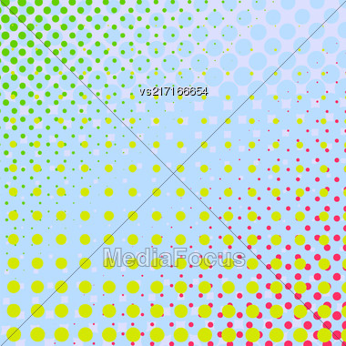 Set Of Halftone Dots. Comic Book Texture. Colorful Background Stock Photo