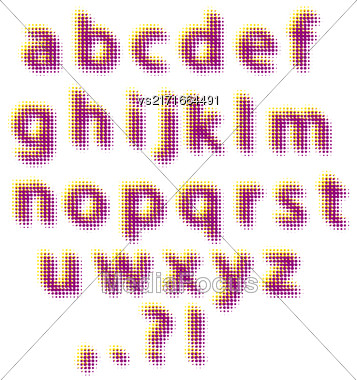 Set Of Halftone Letters Isolated On White Background Stock Photo