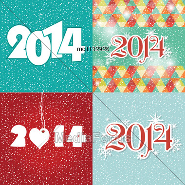 Set Happy New Year 2014 Greeting Card In Blue And White Colors Stock Photo