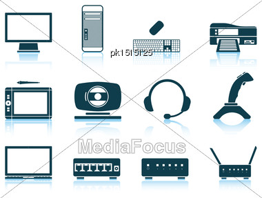 Set Of Hardware Icons. EPS 10 Vector Illustration Without Transparency Stock Photo