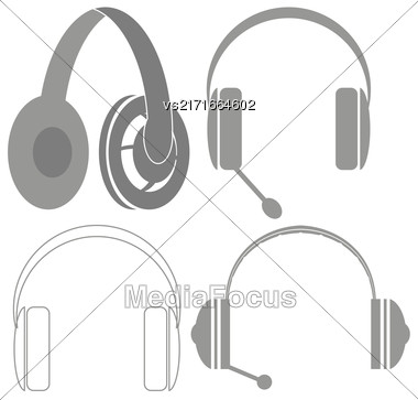 Set Of Headphones Isolated On White Background. Headphones Gray Silhouettes. Stereophones Stock Photo