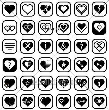 Set Of Heart Icons Isolated On White Background Stock Photo