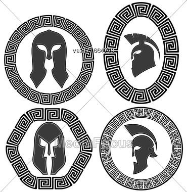 Set Of Helmets Icons Isolated On White Background Stock Photo
