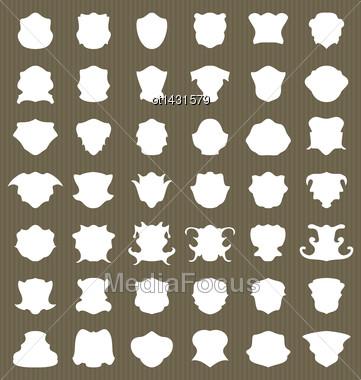 Set Heraldic Shield Shape Label - Vector Stock Photo