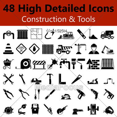 Set Of High Detailed Construction And Tools Smooth Icons In Black Colors. Suitable For All Kind Of Design (Web Page, Interface, Advertising, Polygraph And Other). Vector Illustration Stock Photo