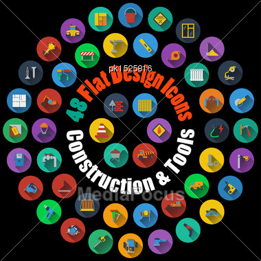 Set Of High Detailed Construction And Tools Smooth Icons In Flat Design Style. Suitable For All Kind Of Design (Web Page, Interface, Advertising, Polygraph And Other). Vector Illustration Stock Photo