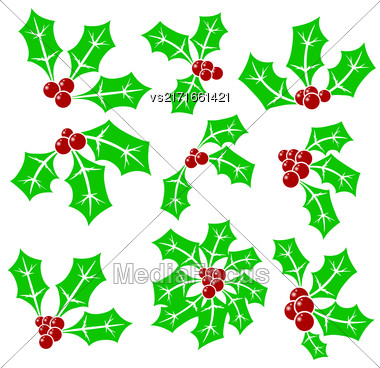Set Of Holly Berry Icons Isolated On White Background Stock Photo