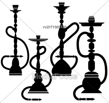Set Of Hookahs Silhouettes Isolated On White Background Stock Photo