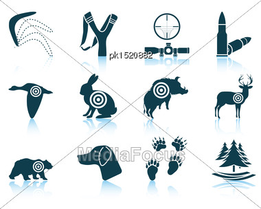 Set Of Hunting Icons. EPS 10 Vector Illustration Without Transparency Stock Photo