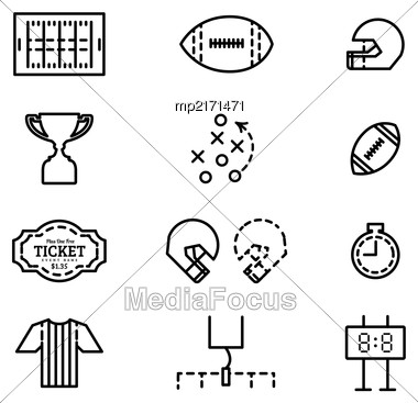Set Of Icons For American Football. Vector Flat Illustration In Style Thin Line Stock Photo