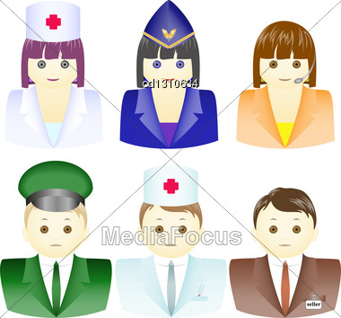 Set Of Icons For Men And Women In Different Uniforms Stock Photo