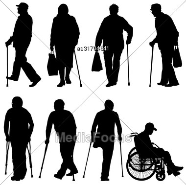 Set Ilhouette Of Disabled People On A White Background. Vector Illustration Stock Photo