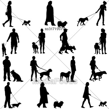 Set Ilhouette Of People And Dog. Vector Illustration Stock Photo