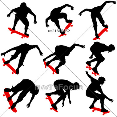 Set Ilhouettes A Skateboarder Performs Jumping. Vector Illustration Stock Photo